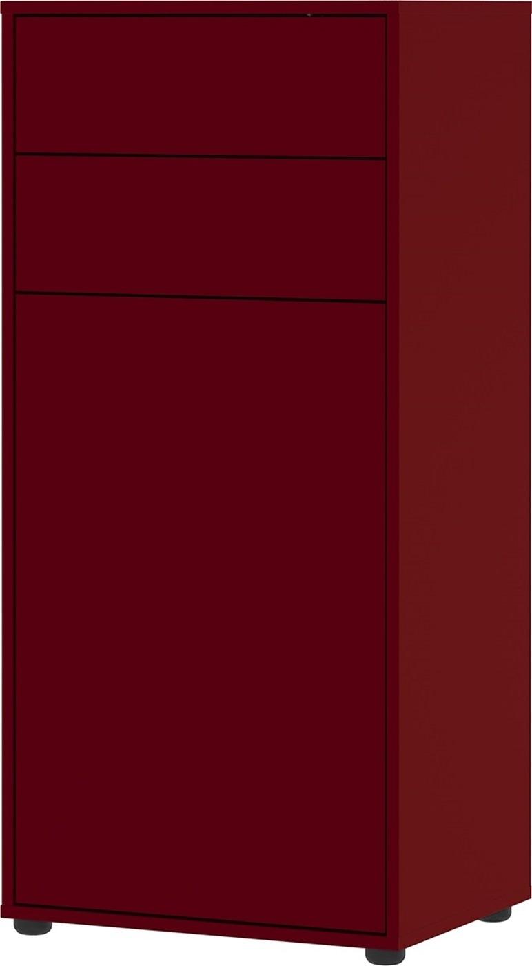 Schoenenkast Madeo 108 cm hoog in robijn rood