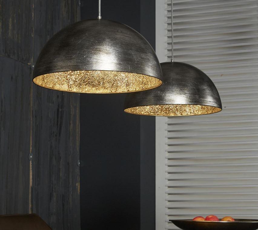 Hanglamp Silvery met 2xØ40 kappen in oud zilver