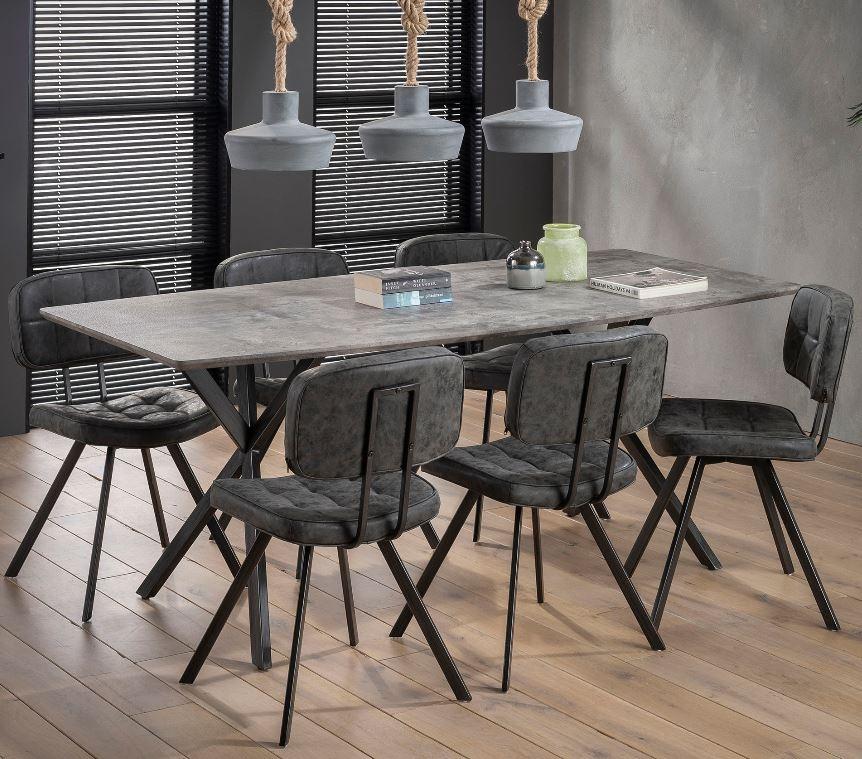 Eettafel Hindel 190 cm breed in grijs beton