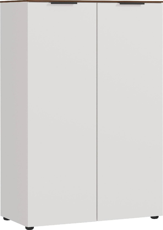 Archiefkast Ancona medium 120 cm hoog in Cashmere met walnoot
