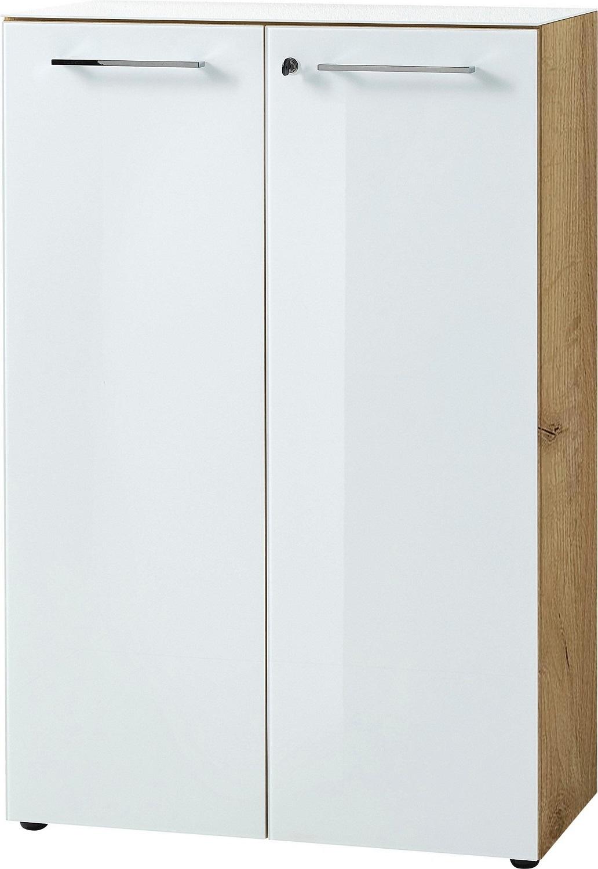 Archiefkast Monteria 120 cm hoog in navarra eiken met wit