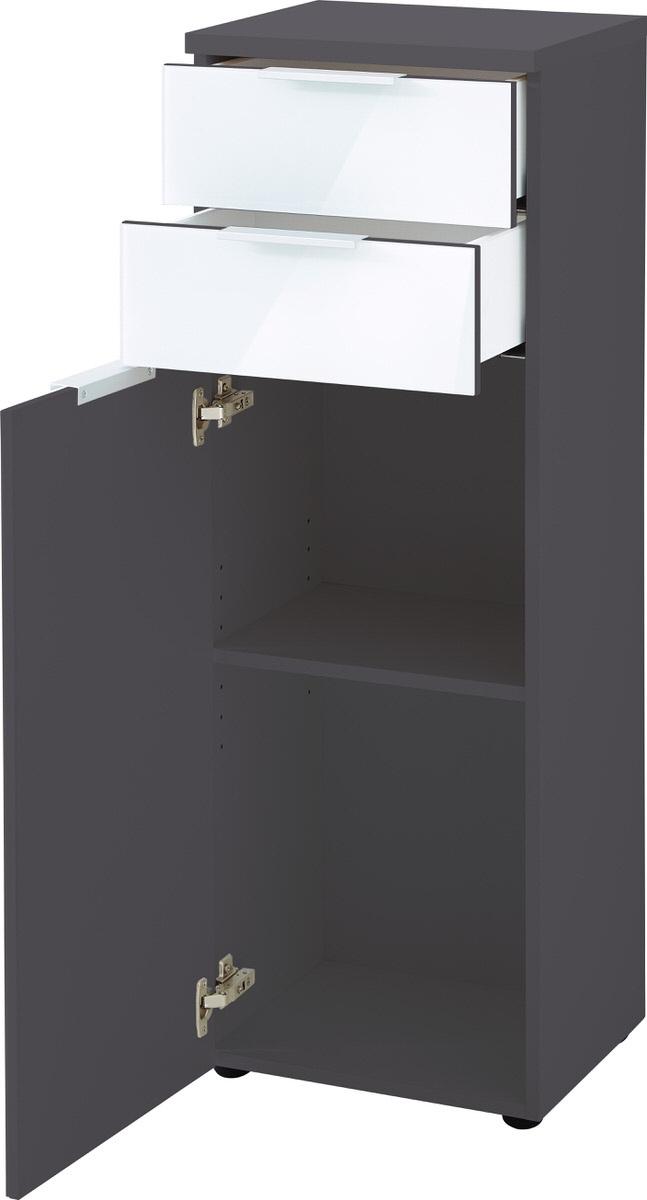 Badkamerkast Carla 112 cm hoog wit met grafiet
