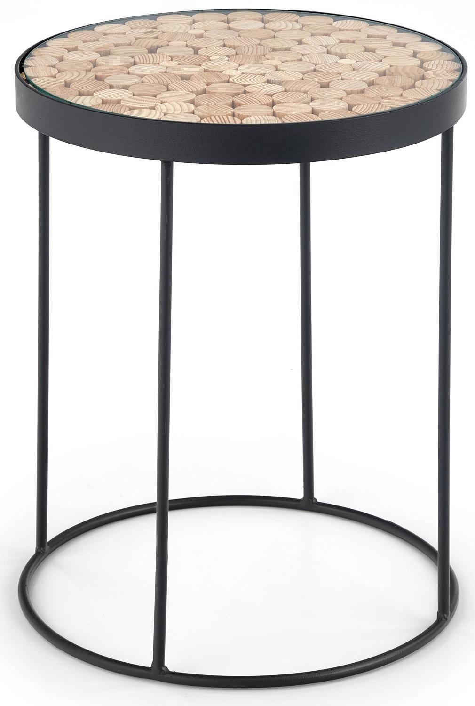 Bijzettafel Naturo 47x61x47 cm breed in natural met zwart