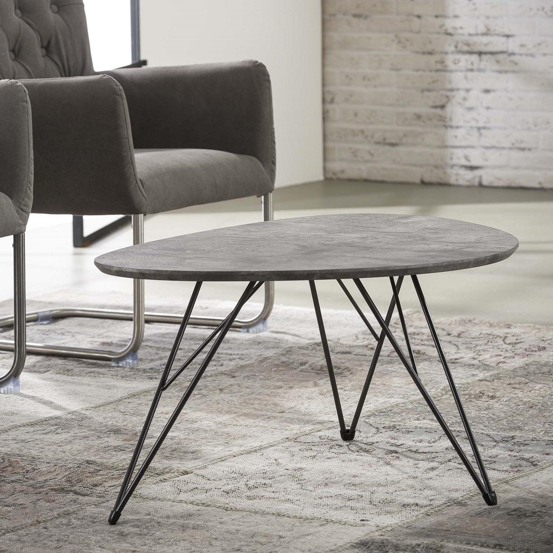 Bijzettafel Zerro van 90x60 cm breed Grijs beton