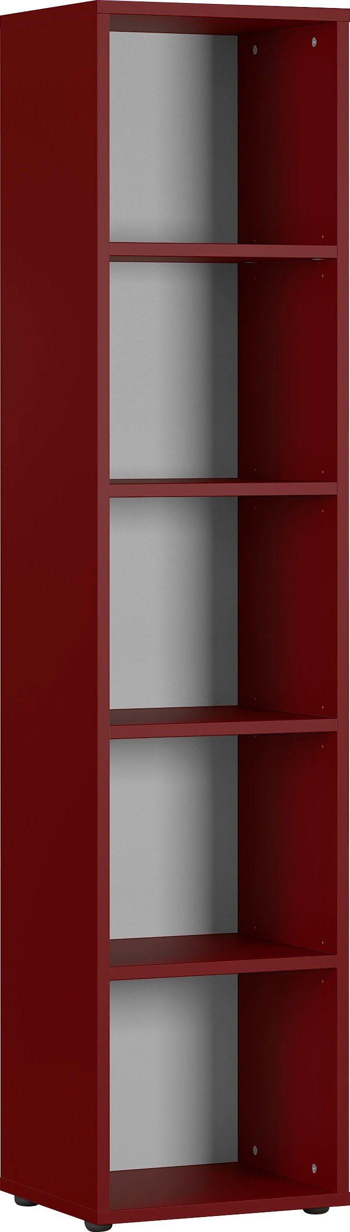 Boekenkast Agenda small 197 cm hoog in robijn rood