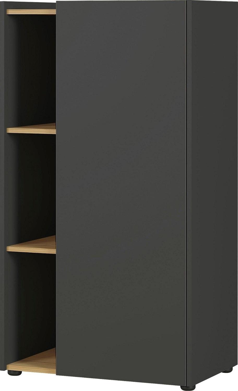 Boekenkast Austin 115 cm hoog in grafiet met navarra eiken