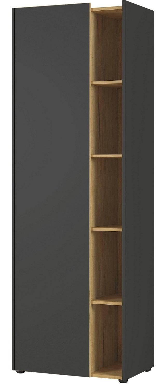 Boekenkast Austin 188 cm hoog in grafiet met navarra eiken