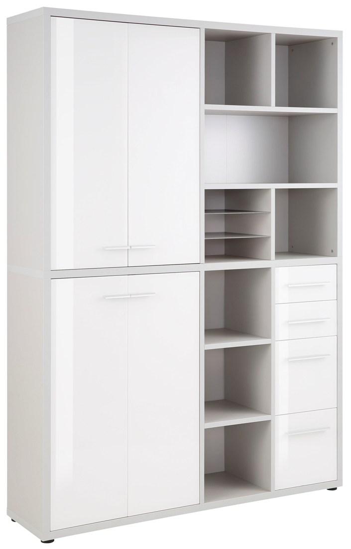 Boekenkast Banco Medium - Platina grijs met wit