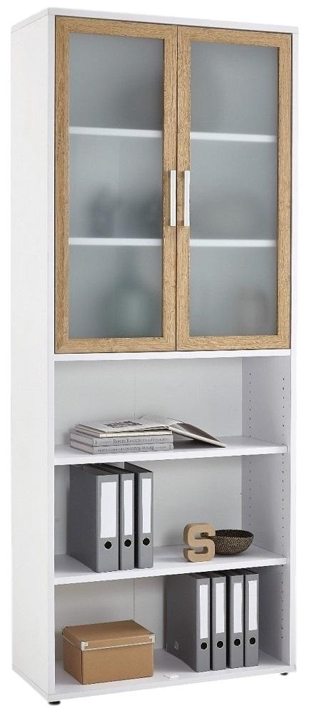 Boekenkast Calvia 12 van 222 cm hoog in wit met oud eiken