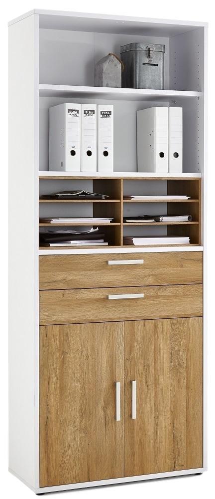 Boekenkast Calvia 222 cm hoog in wit met oud eiken