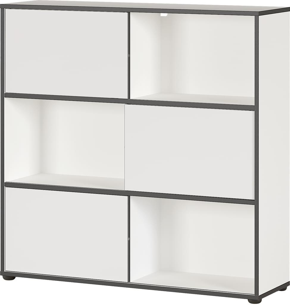 Boekenkast Laredo 120 cm hoog in wit met zwart