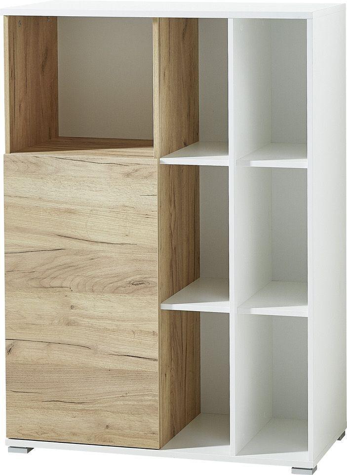 Boekenkast Lioni 120 cm hoog – Wit met Navarra eiken