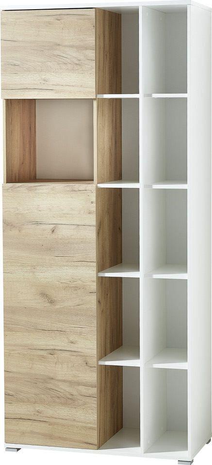Boekenkast Lioni 197 cm hoog – Wit met Navarra eiken
