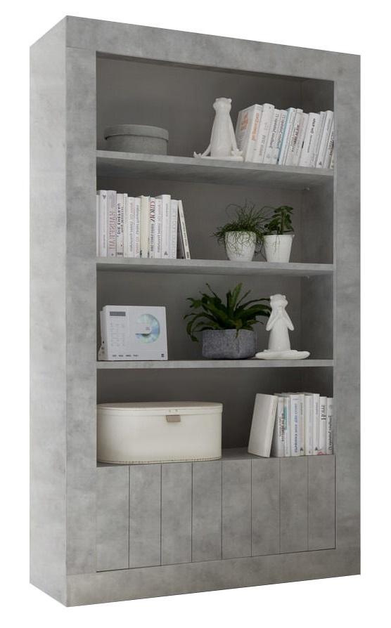 boekenkast Urbino 190 cm hoog in grijs beton