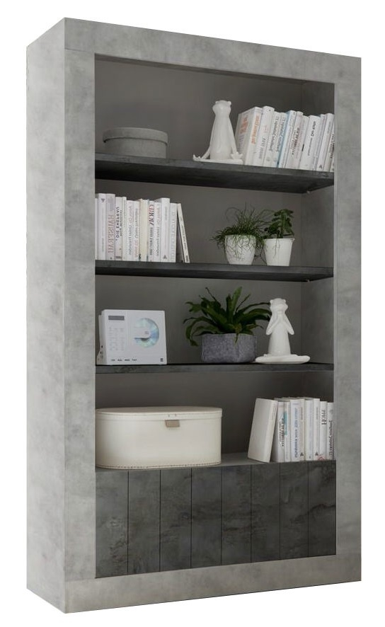 boekenkast Urbino 190 cm hoog in grijs beton met oxid