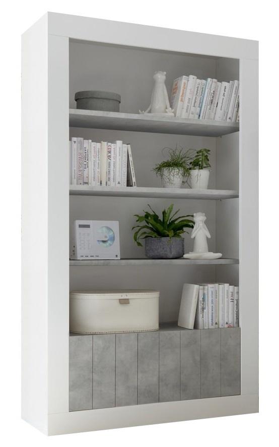 boekenkast Urbino 190 cm hoog in hoogglans wit met grijs beton