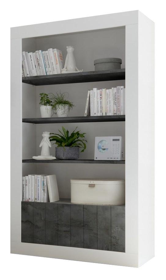 Boekenkast Urbino 190 cm hoog in hoogglans wit met oxid
