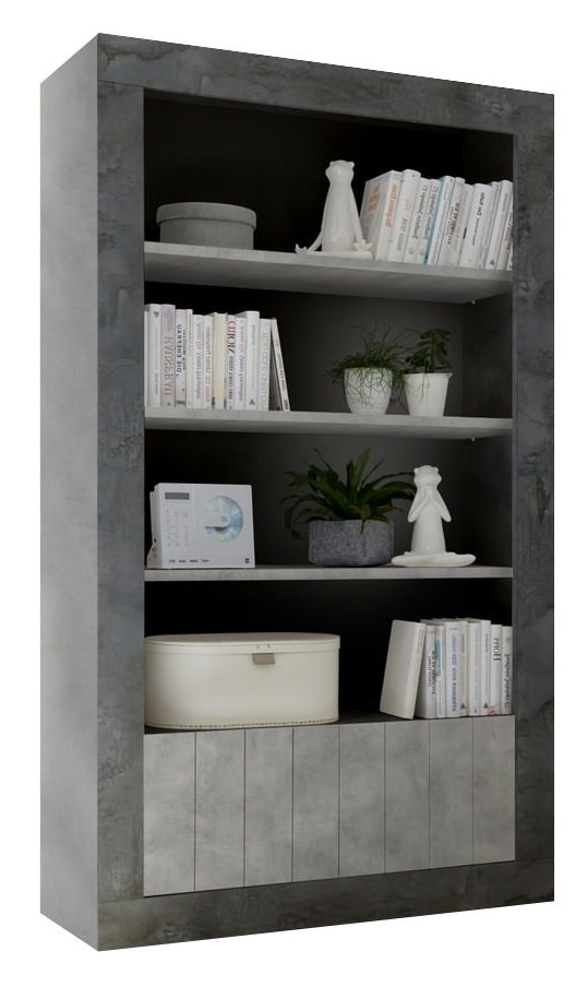 boekenkast Urbino 190 cm hoog in oxid met grijs beton