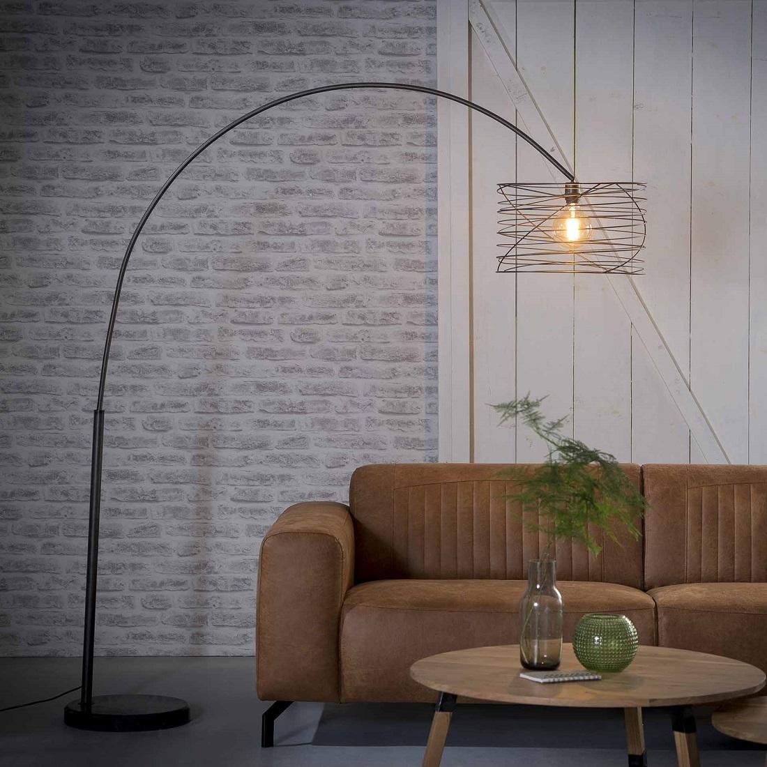 Booglamp Twister 45 van 192 cm hoog Charcoal