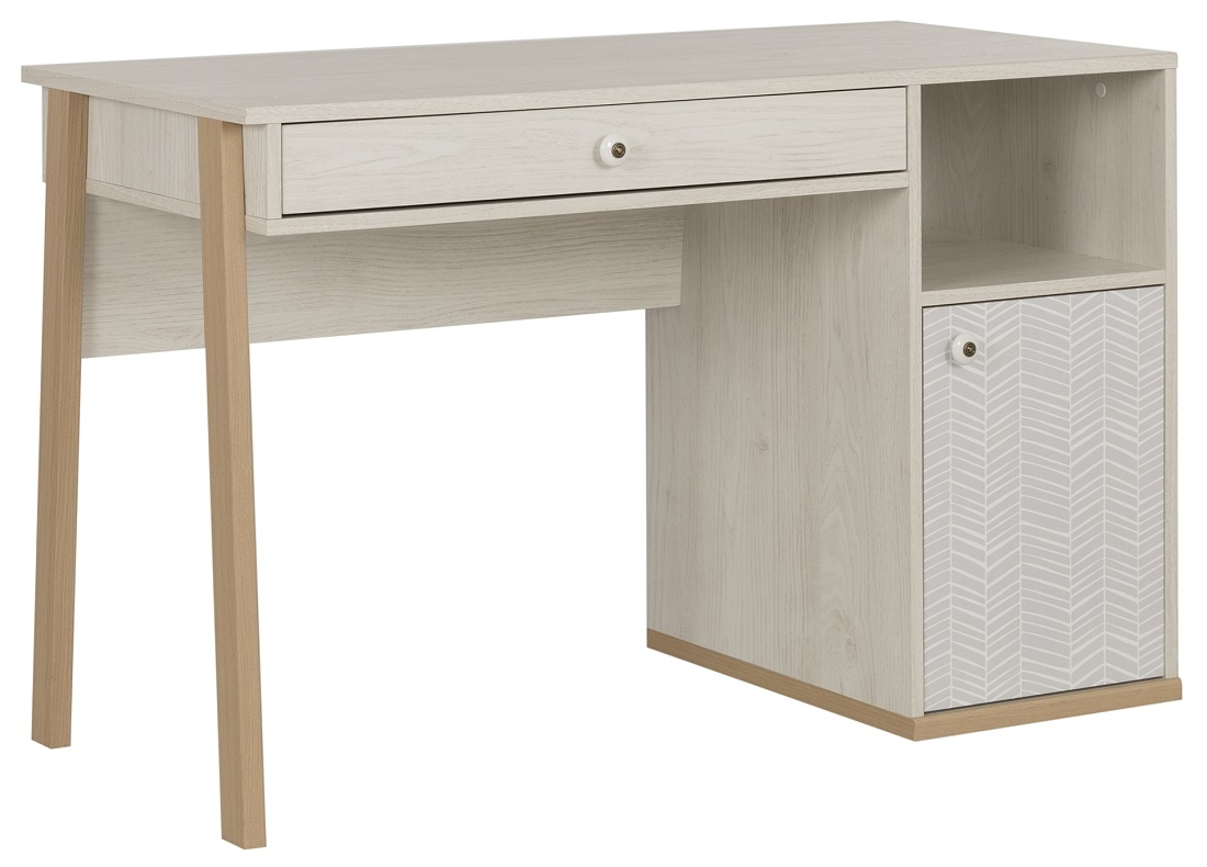 Bureau Alika van 123 cm breed in Wit kastanjehout