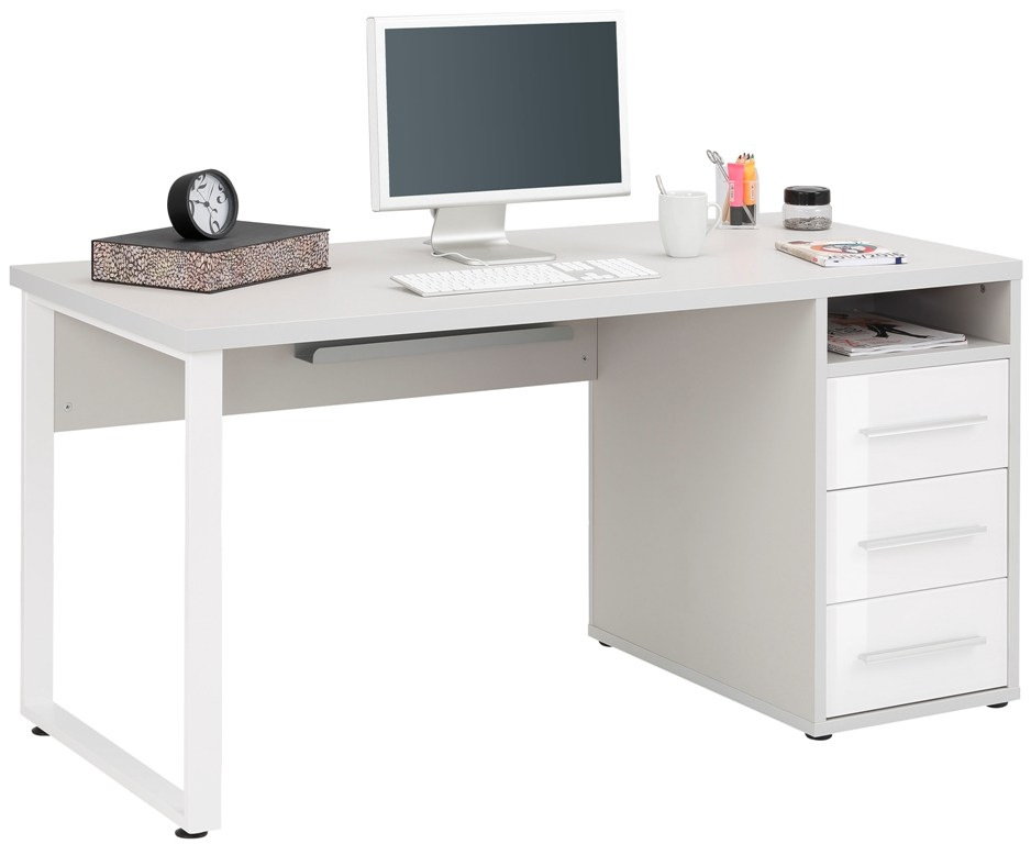Bureau Banco 150 cm breed Platina grijs met wit