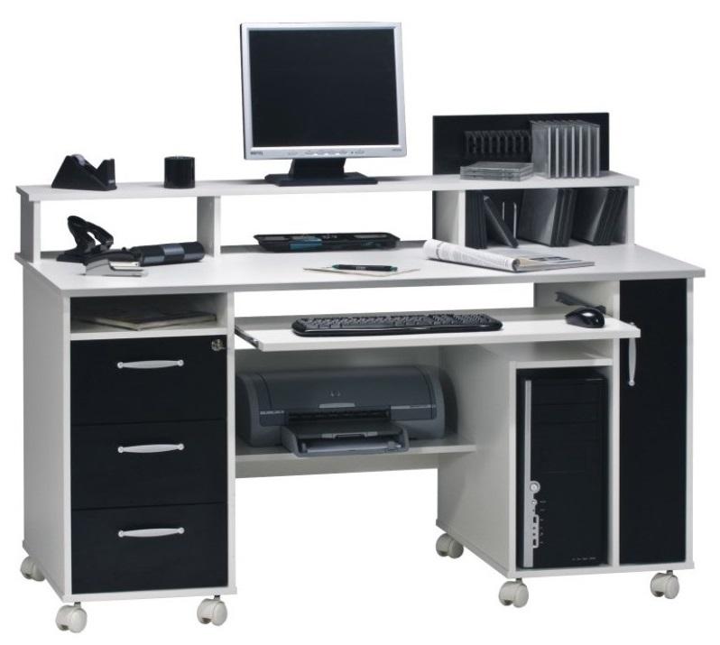 Bureau Nicole 140 cm breed in wit met zwart