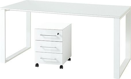 Bureau Set Monteria van 160 cm breed in wit met ladeblok