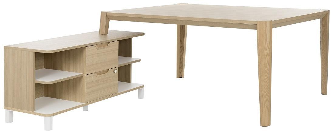 Bureau tafel set Absolu 164 cm breed in eiken