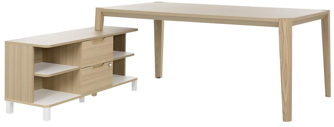 Bureau tafel set Absolu 184 cm breed in eiken