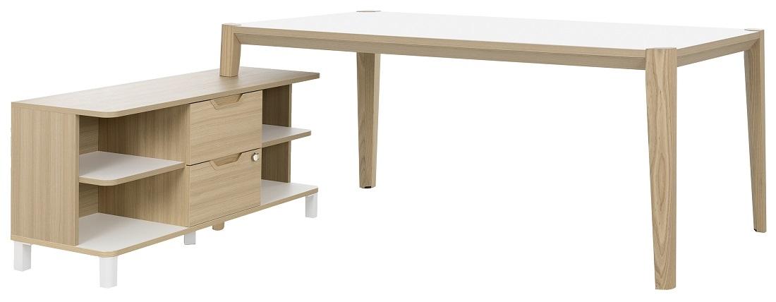 Bureau tafel set Absolu 184 cm breed in wit met eiken