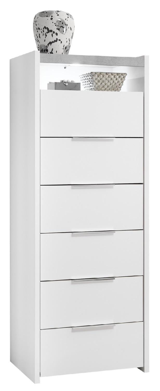 Ladekast Amalti 137 cm hoog in mat wit met grijs beton