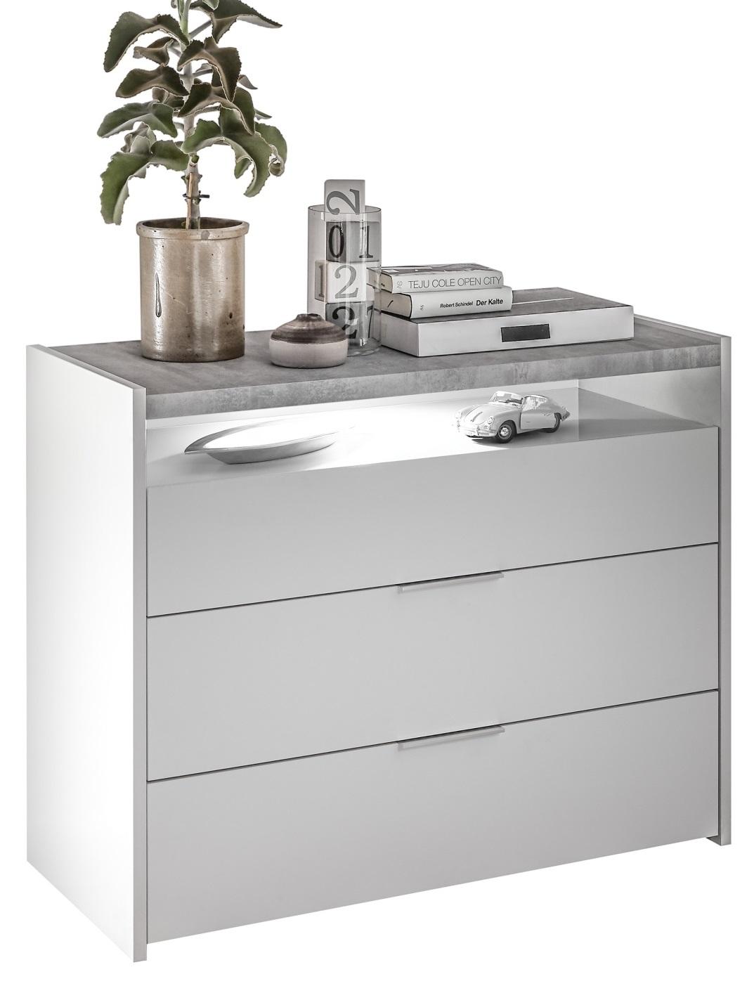 Commode Amalti 95 cm hoog in mat wit met grijs beton