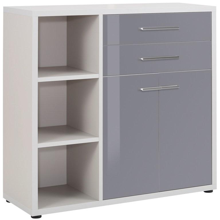 Commode Banco 110 cm hoog Platina grijs met grijs