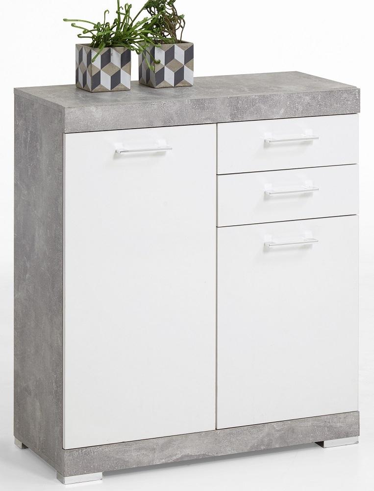 Commode Bristol 2 van 90 cm hoog in grijs beton met wit