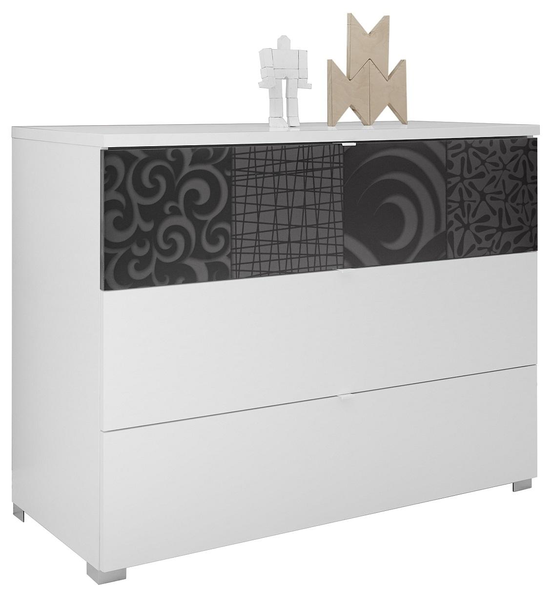 Commode Perez 104 cm breed in mat wit met hoogglans antraciet