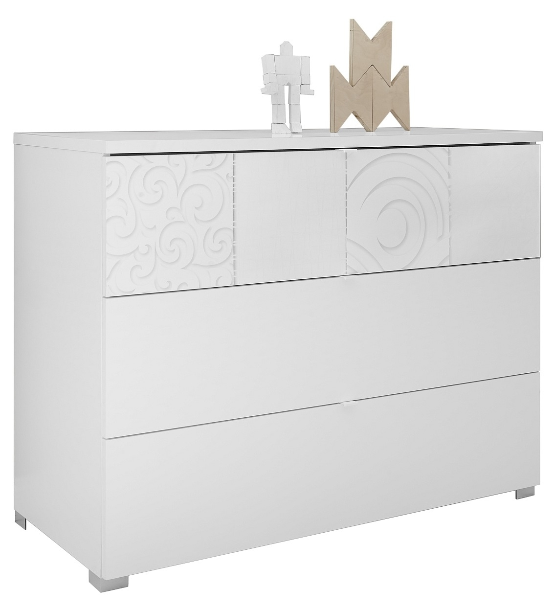 Ladekast Perez 104 cm breed in mat wit met hoogglans wit