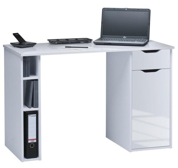 Bureau Manus 115 cm breed in wit met hoogglans wit