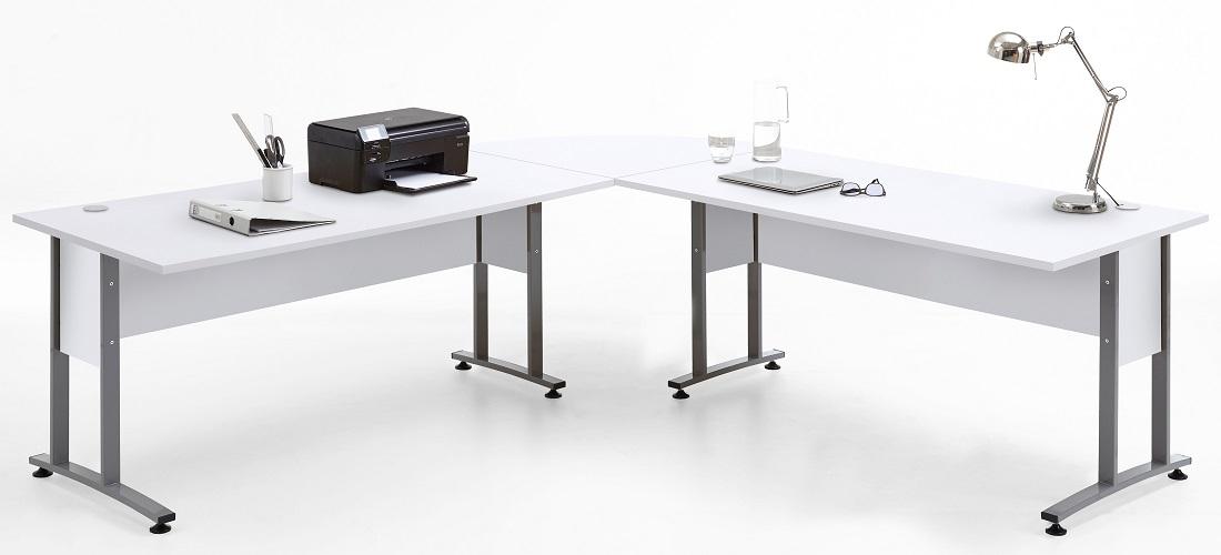 Computer hoekbureau Calvia van 240x75x240 cm breed in wit
