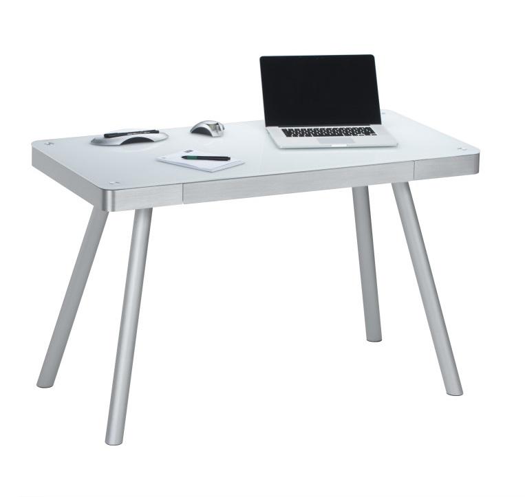 Bureau Urban van 120 cm breed in wit met grijs zilver
