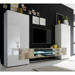 Tv Wandmeubel set Incastro 258 cm breed - Hoogglans wit met eiken