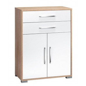 Commode Jones - Sonoma eiken met hoogglans Wit