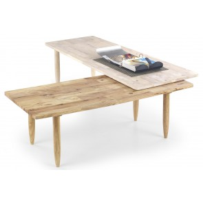 Salontafel Bora 120 tot 200 cm breed in gebroken wit met naturel eiken