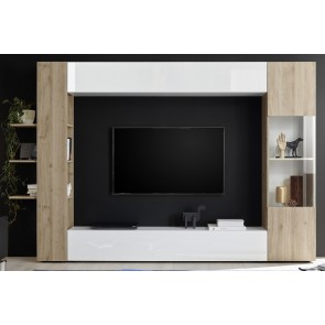 Tv-wandmeubel Morgan circle 295 cm breed in wit met cadiz eiken