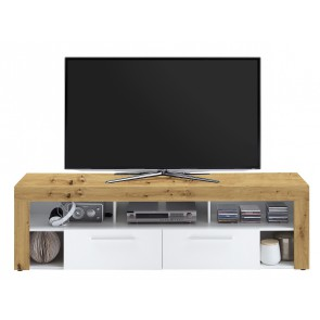 Tv-meubel Raymond 180 cm breed in artisan eiken met wit