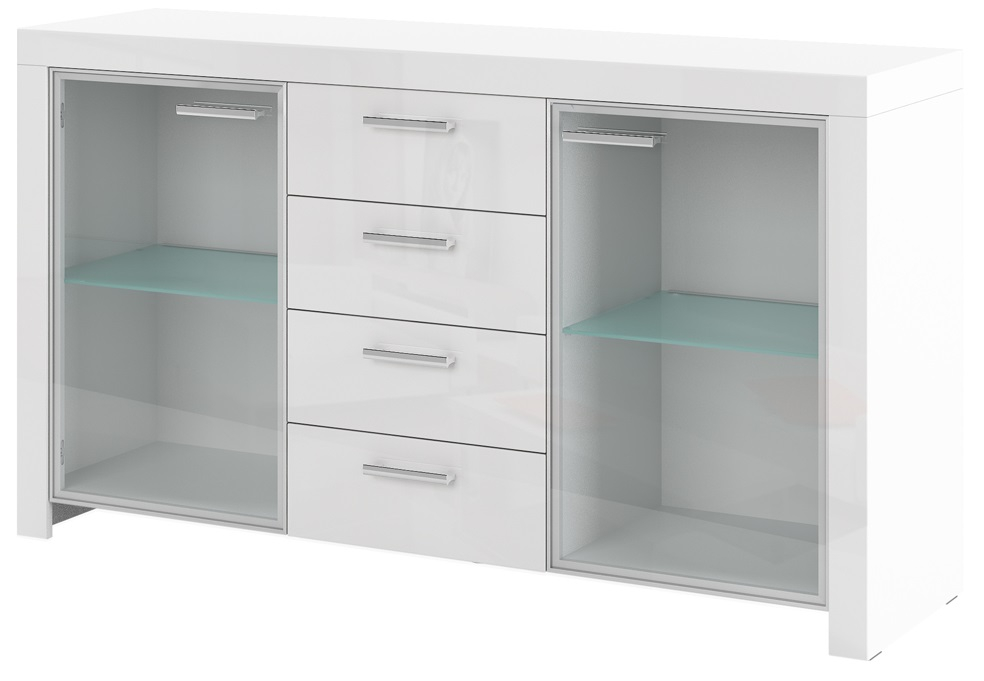 Dressoir Vitrinekast Impresja 150 cm breed in hoogglans wit