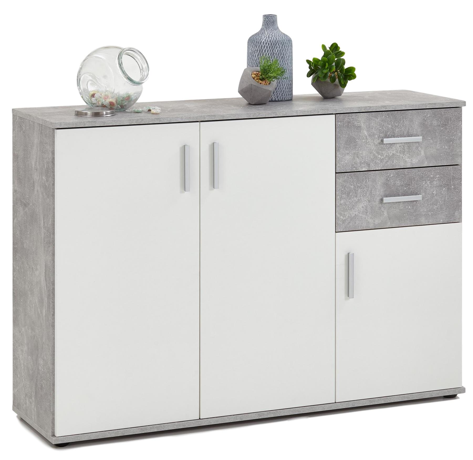 FD Furniture tv meubel dressoir Albi 120 cm breed Grijs beton met wit