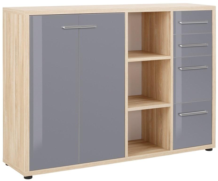 Bermeo tv meubel dressoir Banco 156 cm breed Eiken met grijs