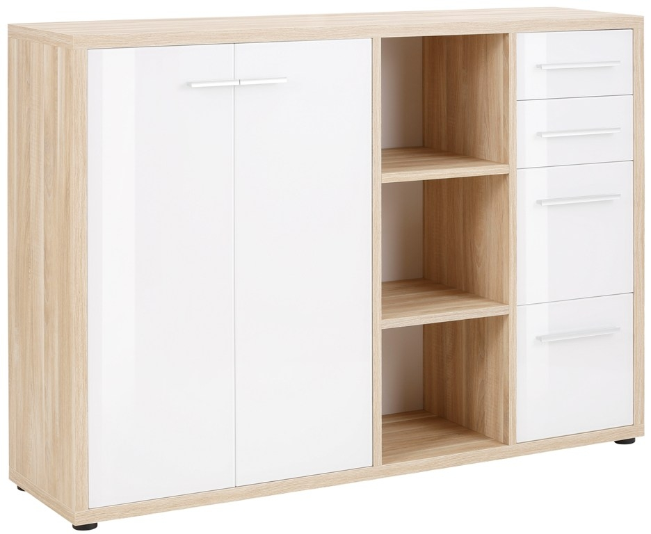 Bermeo tv meubel dressoir Banco 156 cm breed Eiken met wit