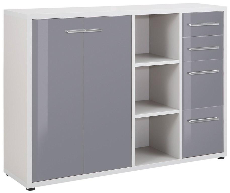Bermeo tv meubel dressoir Banco 156 cm breed Platina grijs met grijs