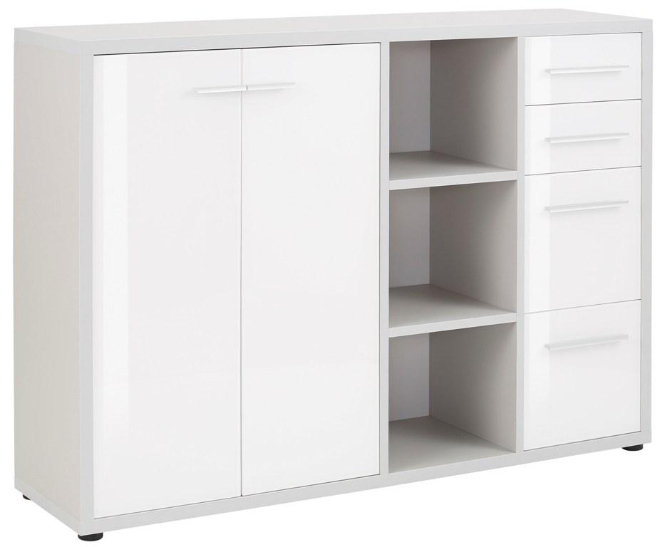 Bermeo tv meubel dressoir Banco 156 cm breed Platina grijs met wit
